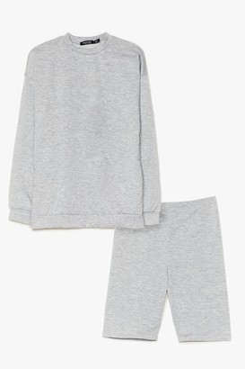 Nasty Gal Womens Cut It Short Sweatshirt and Biker Short Set - Grey Marl