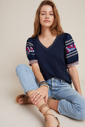 Anthropologie Tessann Embroidered Top By in Blue Size S