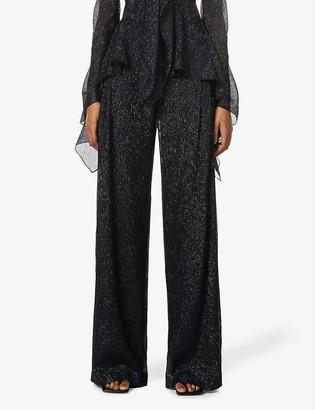 Roland Mouret Brunswick wide-leg high-rise silk-blend trousers