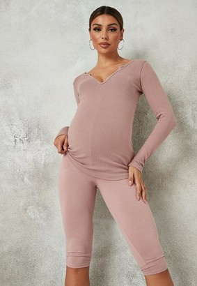 Missguided Rose Maternity Cropped Leggings