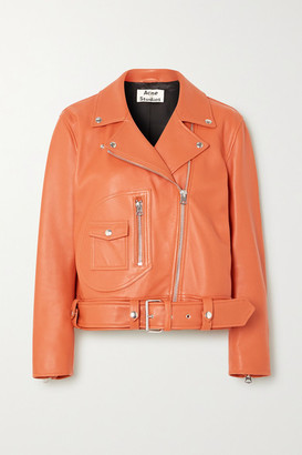 Acne Studios Leather Biker Jacket - Orange