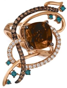 LeVian Le Vian Exotics Crazy Collection Chocolate Quartz (3-3/4 ct. t.w.) & Diamond (3/4 ct. t.w.) Statement Ring in 14k Rose Gold