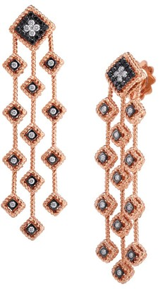 Roberto Coin Palazzo Ducale 18K Rose Gold, Black & White Diamond Chandelier Earrings