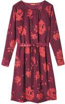 Joe Fresh Women's Print Pleat Neck Dress, Dark Red (Size L)