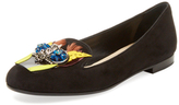 Christian Dior Embellished Leather Smoking Slipper