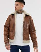 Jack & Jones Originals faux leather aviator jacket with borg lining in tan