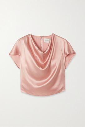 Le Kasha Tarim Draped Silk-satin Top - Pink