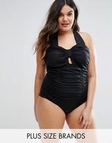 Monif C Ruched Halter Swimsuit