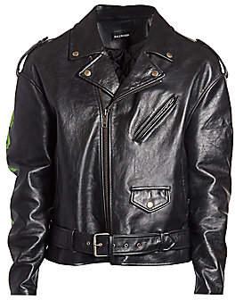 Balenciaga Men's Painted Leather Biker Jacket