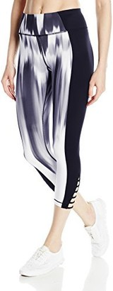 Betsey Johnson Women's Print Insert Banded Cutout Crop Legging
