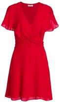 Parker Kate Flutter-Sleeve Knotted A-Line Dress