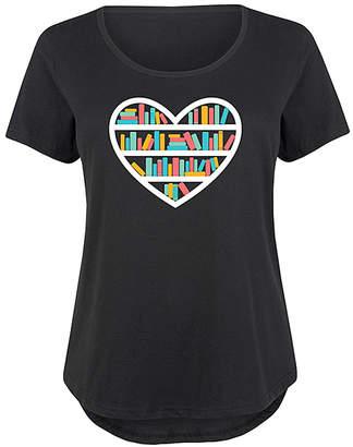 Instant Message Plus Women's Tee Shirts BLACK - Black Heart Book Shelf Scoop Neck Tee - Plus