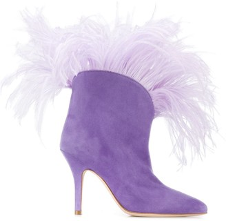 Paris Texas Lilla feather-trimmed ankle boots