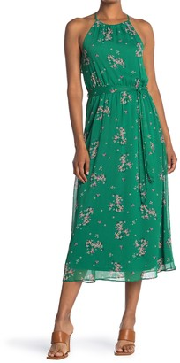 Lush Floral Print Waist Tie Ruffle Back Midi Dress