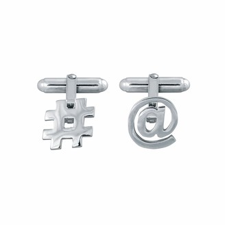 Edge Only Mixed Media Cufflinks in silver