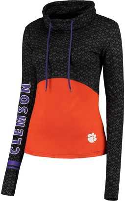 Colosseum Women's Black/Orange Clemson Tigers Scaled Cowl Neck Pullover Hoodie