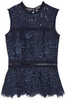 Sea Crochet-trimmed Cotton-blend Guipure Lace Peplum Top - Storm blue