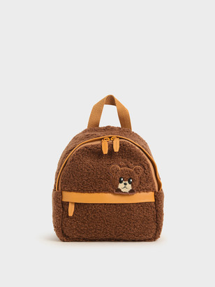 Charles & Keith Girls' Bear Motif Furry Backpack