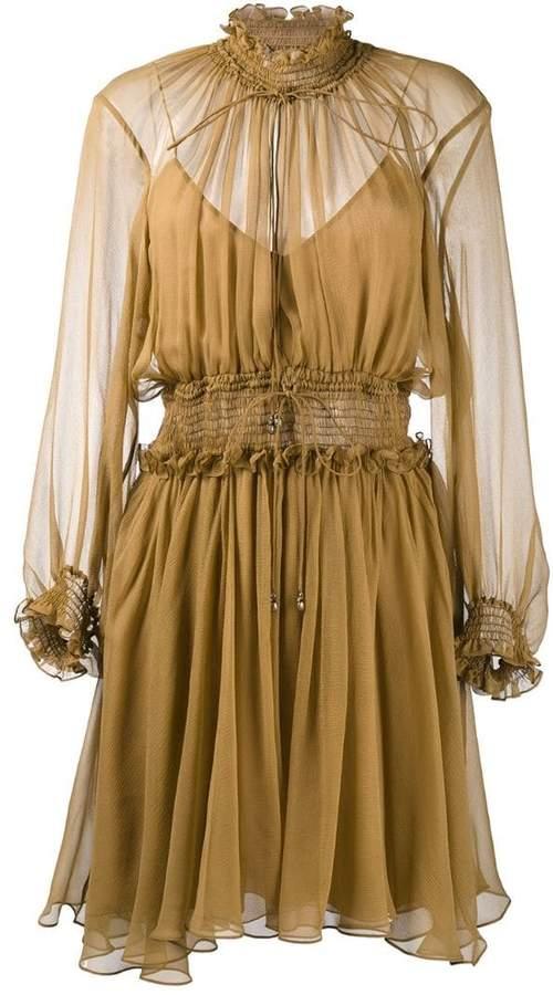 Chloé smocked split neck dress