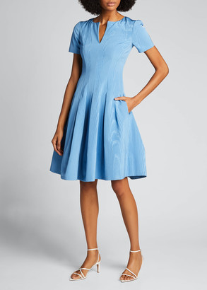 Oscar de la Renta Taffeta V-Neck Cocktail Dress