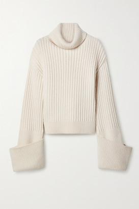 The Row Aneke Oversized Ribbed Wool Turtleneck Sweater - Cream