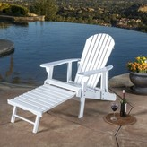 Beachcrest Home Surrey Wood Adirondack Chair with Ottoman Frame Color: White