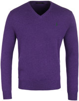 Polo Ralph Lauren Violet Heather Wool Knit V-neck Sweater