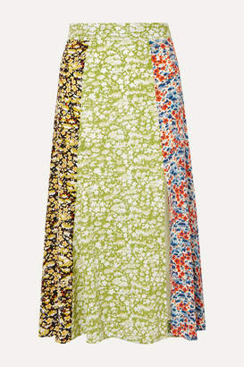 Stine Goya Jada Floral-print Silk-crepe Midi Skirt - Lime green