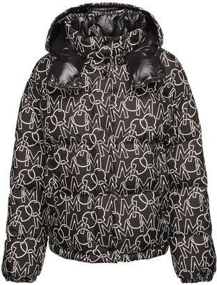 Moncler Daos All Over Logo Print Down Jacket