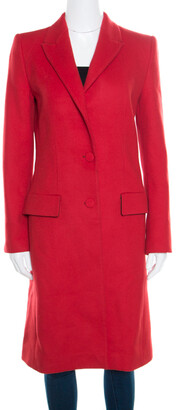 Gianfranco Ferre Red Wool and Cashmere Long Coat S