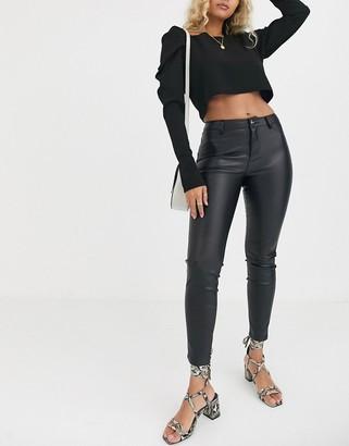 Lipsy pu jean in black