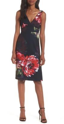 trina Trina Turk Fresca Floral V-Neck Sheath Dress