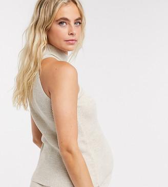 Fashionkilla Maternity knitted choker top co-ord in oatmeal