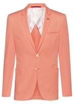 HUGO Extra-slim-fit stretch-cotton jacket with lapel pin