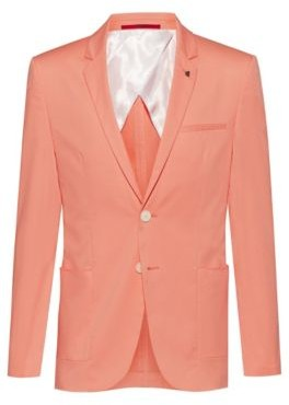 HUGO BOSS Extra-slim-fit stretch-cotton jacket with lapel pin