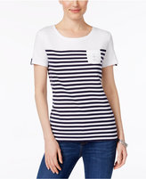 Karen Scott Cotton Striped Studded-Anchor Top, Only at Macy's
