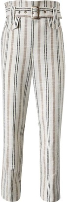 River Island Girls cream stripe belted linen trousers