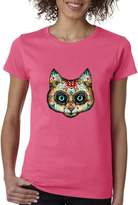 Cosmozz Sugar Skull Cat Skull Ladies T-Shirt Day of Dead Shirts s3
