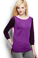 Classic Women's Tall Supima 3/4 Sleeve Colorblock Sweater-Intense Teal Floral