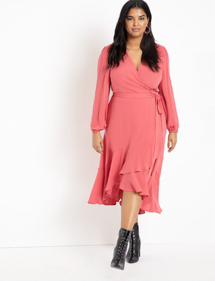 ELOQUII Soft Wrap Dress with Ruffle