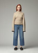 KHAITE Women's Colette Sweater in Powder/Blackwhipstitch Size Small