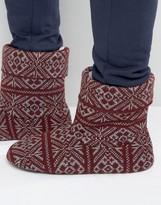 Asos Slipper Boots In Burgundy Christmas Fairisle