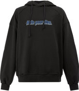 Juun.J slogan embroidered hooded sweatshirt - men - Cotton/Polyurethane - S
