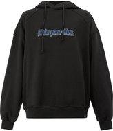 Juun.J slogan embroidered hooded sweatshirt