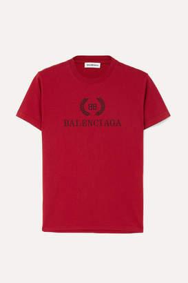 Balenciaga Printed Cotton-jersey T-shirt - Red