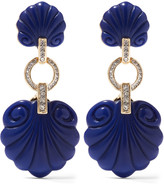 Kenneth Jay Lane Gold-tone, plastic and crystal clip earrings