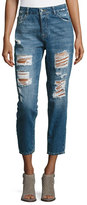 DL1961 Goldie High-Rise Tapered Jeans, Shredded