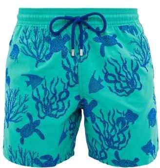 Vilebrequin Moorea Flocked Swim Shorts - Mens - Green Navy