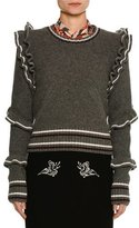 No.21 No. 21 Crewneck Striped Ruffled Wool Sweater