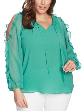 1 STATE Trendy Plus Size Ruffled Cold-Shoulder Top